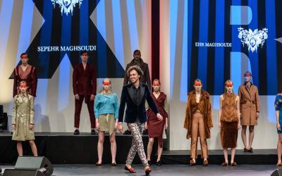 Leerlingen Kappersacademie Hair Point verzorgen haar en make-up catwalkshow Sepehr Maghsoudi tijdens Masters of LXRY